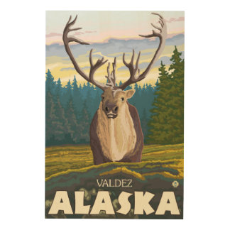 Caribou in the Wild - Valdez, Alaska Wood Canvases
