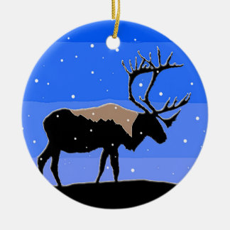Caribou in Winter Christmas Ornament