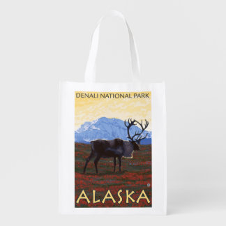Caribou Scene - Denali National Park, Alaska Reusable Grocery Bag
