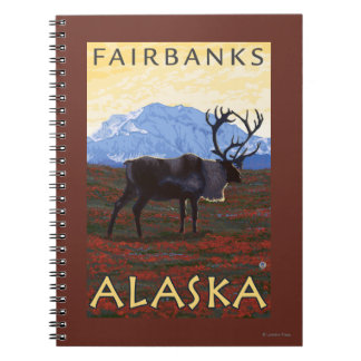 Caribou Scene - Fairbanks, Alaska Spiral Notebook