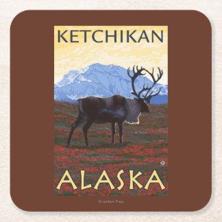 Caribou Scene - Ketchikan, Alaska Square Paper Coaster