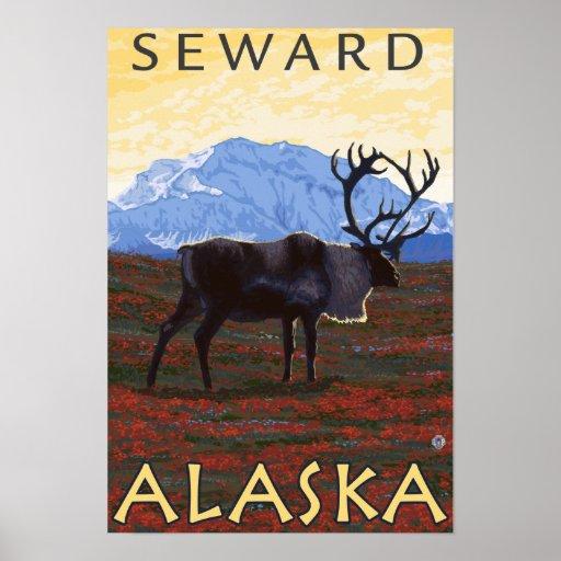 Caribou Scene - Seward, Alaska Posters