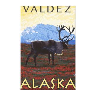 Caribou Scene - Valdez, Alaska Stretched Canvas Print