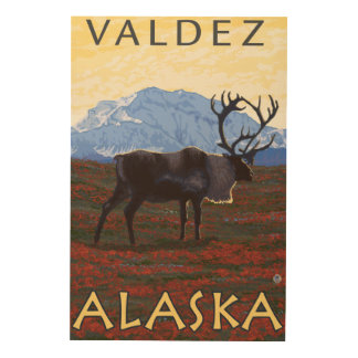 Caribou Scene - Valdez, Alaska Wood Prints