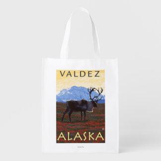 Caribou Scene - Valdez, Alaska Grocery Bags