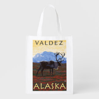 Caribou Scene - Valdez, Alaska Grocery Bag