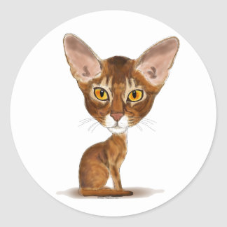 Caricature Abyssinian Round Stickers