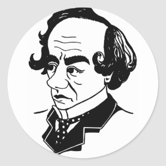 Caricature Benjamin Disraeli Classic Round Sticker