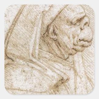Caricature by Leonardo da Vinci Square Sticker
