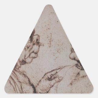 Caricature by Leonardo da Vinci Triangle Sticker