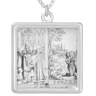 Caricature depicting a Spiritual Dispute Silver Plated Necklace
