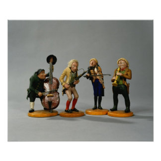 Caricature figurines of musicians poster