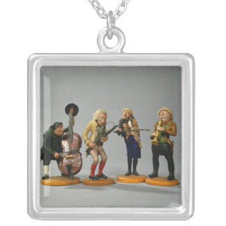 Caricature figurines of musicians silver plated necklace