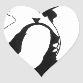 Caricature of a figure in a sunflower dress heart sticker