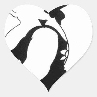 Caricature of a figure in a sunflower dress heart sticker