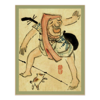 Caricature of a Man Dancing Vintage Japanese Print