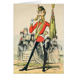 Caricature of a Victorian British Soldier Card