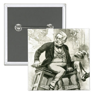 Caricature of Adolphe Thiers  between two 15 Cm Square Badge
