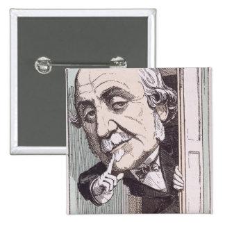Caricature of Albert, Duc de Broglie 15 Cm Square Badge