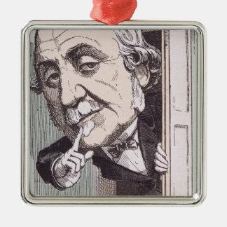 Caricature of Albert, Duc de Broglie Silver-Colored Square Decoration