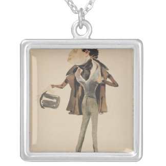 Caricature of Alexander Dumas Pere Silver Plated Necklace