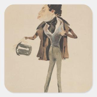 Caricature of Alexander Dumas Pere Square Stickers