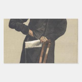 Caricature of Charles Voysey by James Tissot Rectangular Sticker