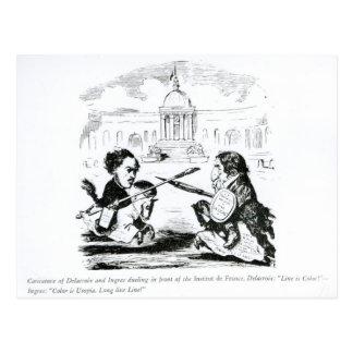 Caricature of Delacroix and Ingres Postcard