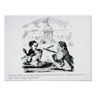 Caricature of Delacroix and Ingres Poster