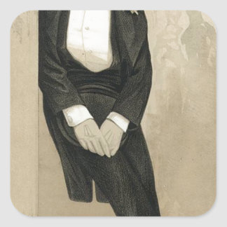 Caricature of Frederic Leighton by James Tissot Square Sticker
