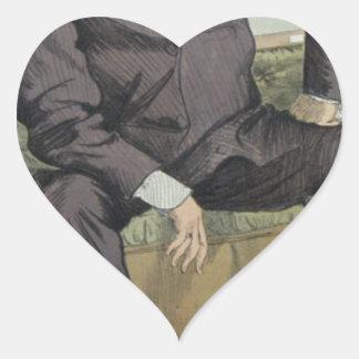 Caricature of George William Pierrepont Bentinck Heart Sticker