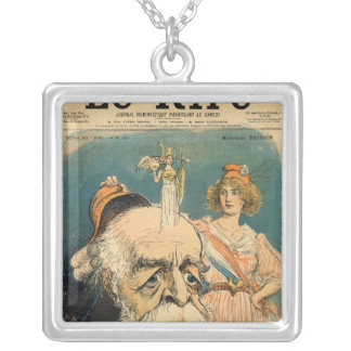 Caricature of Henri Brisson, Silver Plated Necklace