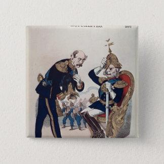 caricature of Kaiser Wilhelm  of Prussia 15 Cm Square Badge