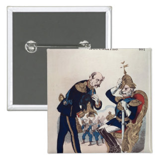 caricature of Kaiser Wilhelm  of Prussia 15 Cm Square Badge