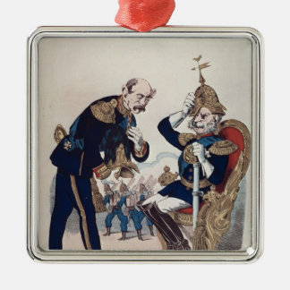 caricature of Kaiser Wilhelm  of Prussia Silver-Colored Square Decoration