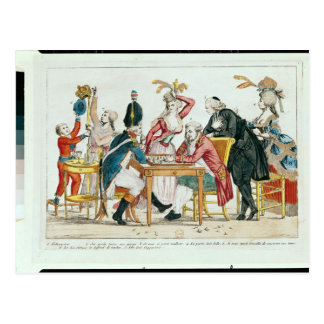 Caricature of Louis XVI  playing chess Postcard