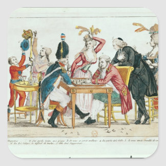 Caricature of Louis XVI  playing chess Square Sticker