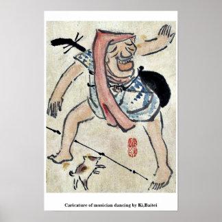 Caricature of musician dancing by Ki,Baitei Print
