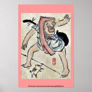 Caricature of musician dancing by Ki Baitei Print