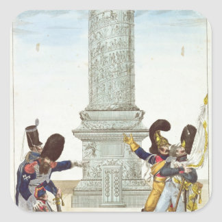caricature of soldiers at the Colonne Vendome Square Sticker