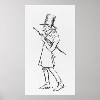 Caricature of Soren Aabye Kierkegaard Poster