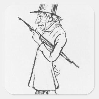 Caricature of Soren Aabye Kierkegaard Square Sticker