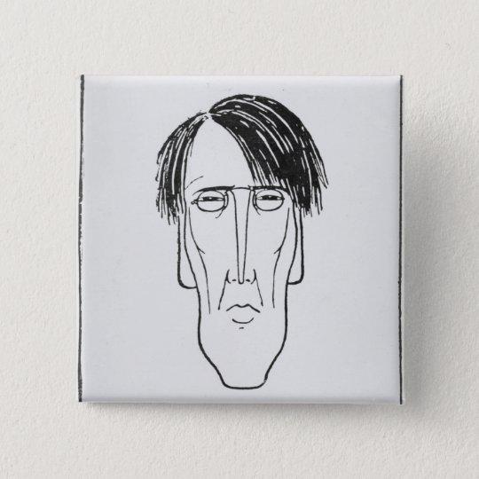 Caricature of W.B. Yeats, 1898 15 Cm Square Badge