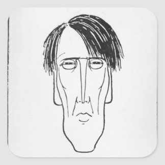 Caricature of W.B. Yeats, 1898 Square Stickers