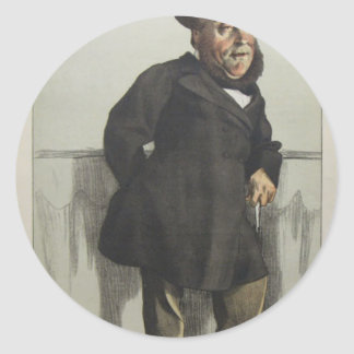 Caricature of William Henry Gregory by James Tisso Round Sticker