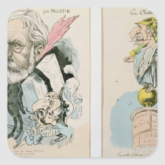 Caricatures of Victor Hugo  and Napoleon III Square Sticker