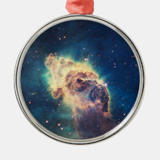 Carina Nebula from Hubble's Wide Field Camera Round Metal Christmas Ornament