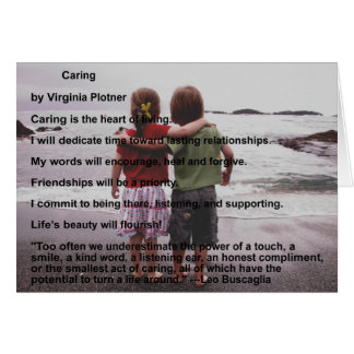 """""""Caring"""" affirmation note card (blank inside)"""