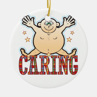 Caring Fat Man Round Ceramic Decoration