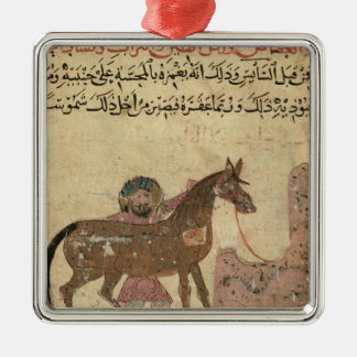 Caring for the horse, illustration Silver-Colored square decoration